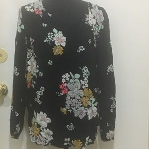 Old Navy Black Floral Rayon Tunic